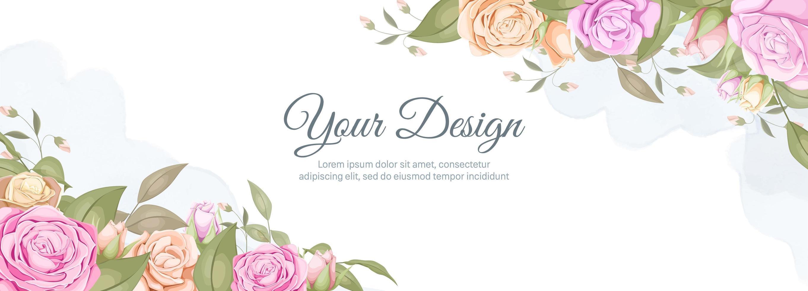 aquarel roos bruiloft banner vector