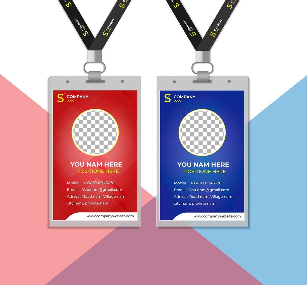 rode en blauwe personeelskaarten vector