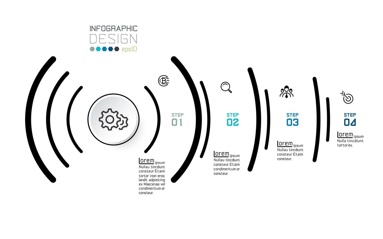infographic 4 opties op sociaal signaalconcept vector