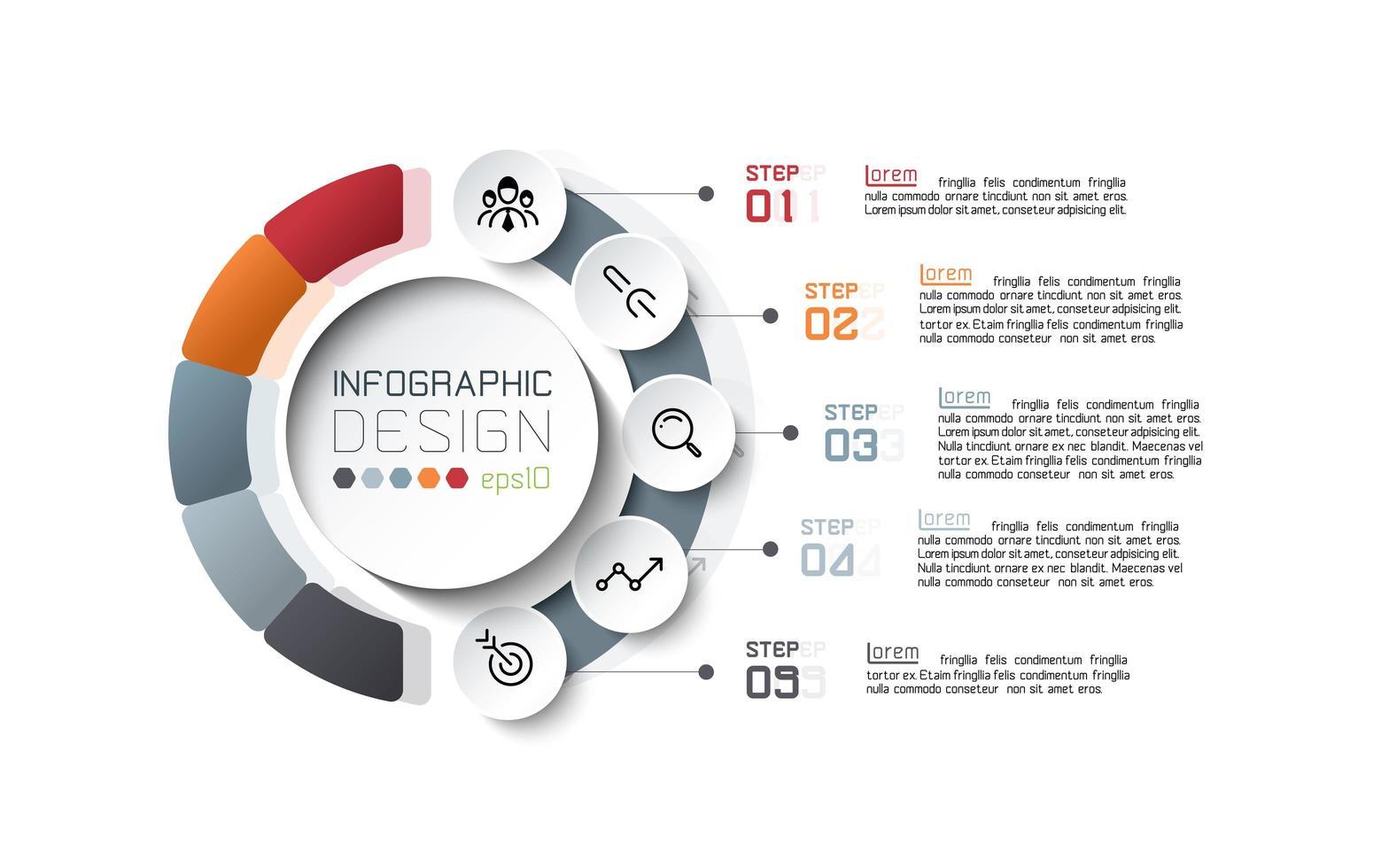kleurrijk gesegmenteerd cirkel infographic ontwerp vector