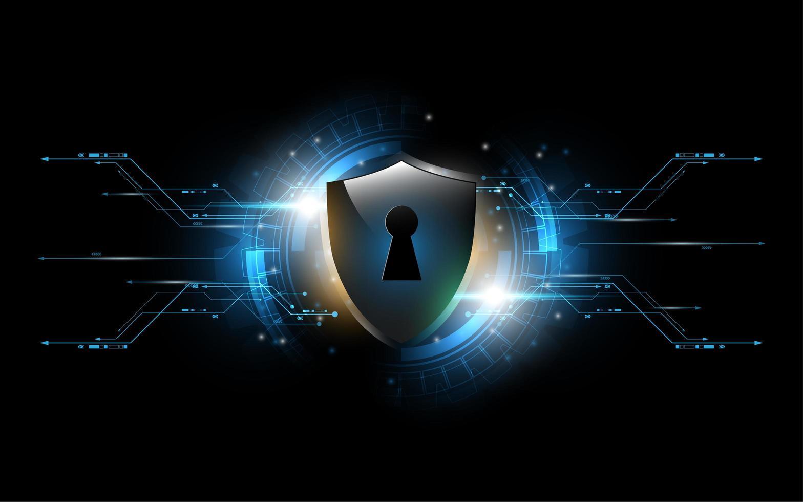 3D-tech beschermd wacht slot schild veiligheidsconcept vector