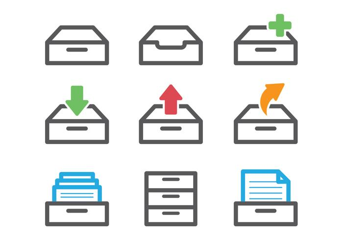 Kleurrijke File Cabinet Vectors