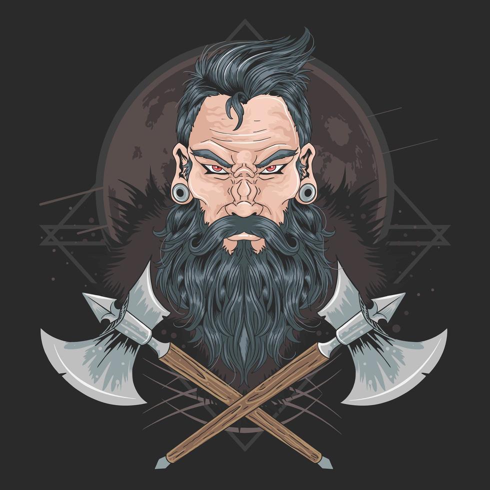 krijger baard mannen vector