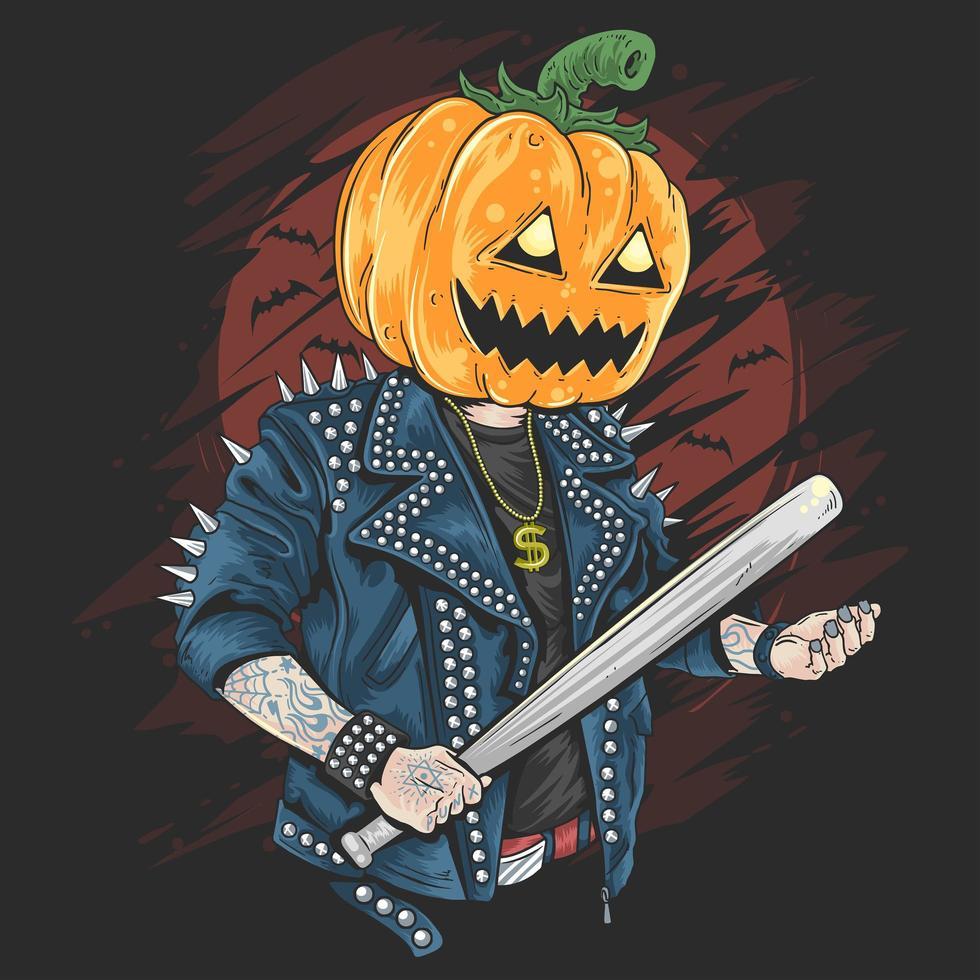 Halloween-pompoen die een honkbalknuppel houdt vector