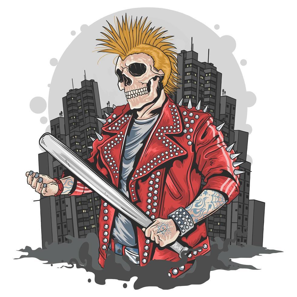 punker met een schedelhoofd vector