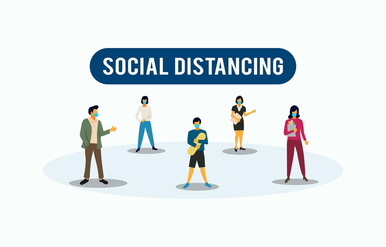 sociale afstand tot coronavirus vector