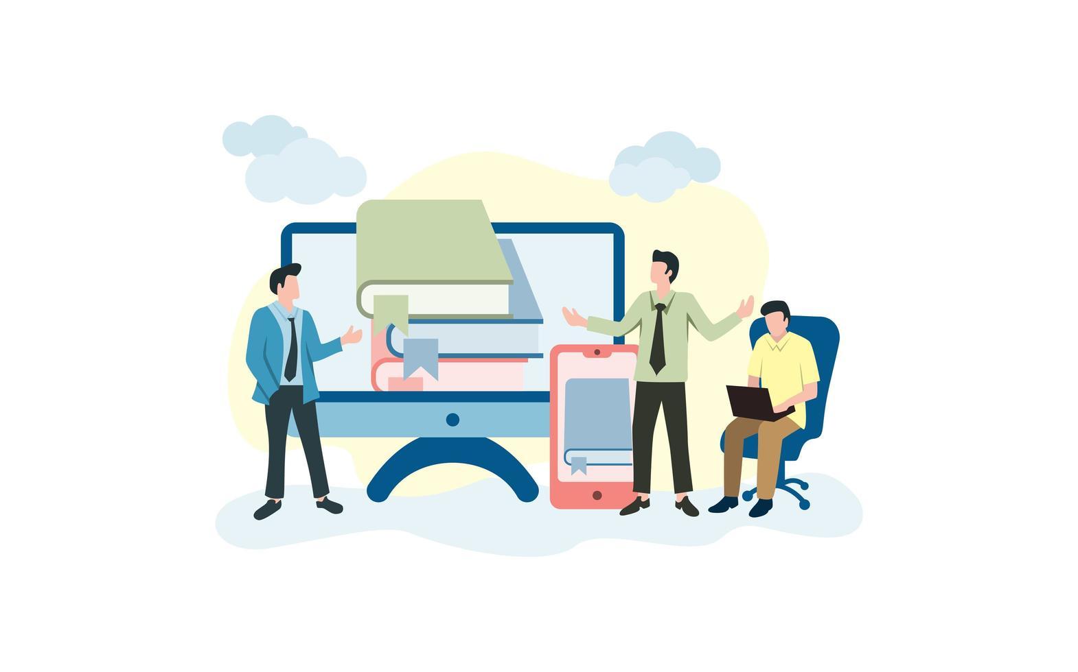 activiteit van mensen met betrekking tot online leren vector
