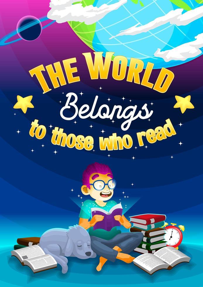 poster met jongen lezen van een boek onder wereld vector