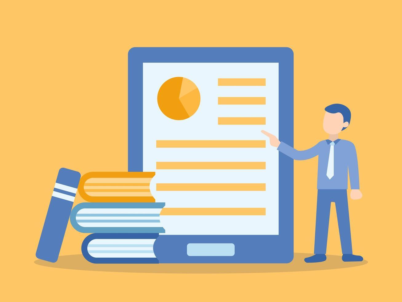 man lesgeven online cursus in tablet vector