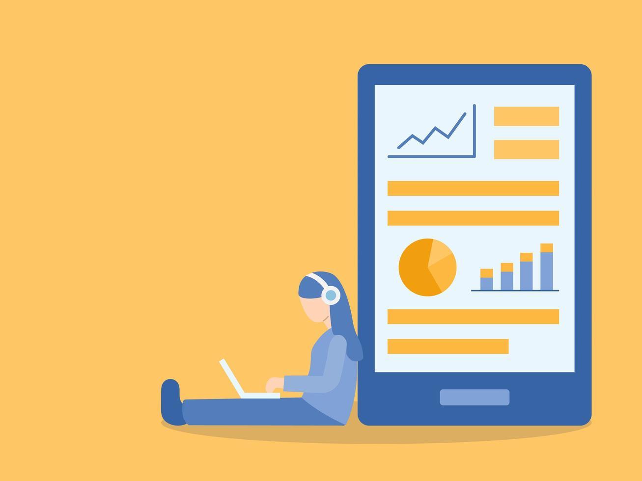 vrouw zittend op de vloer leren online cursus vector