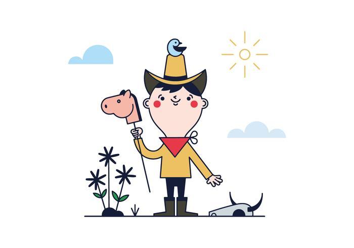 Gratis Weinig Cowboy Vector