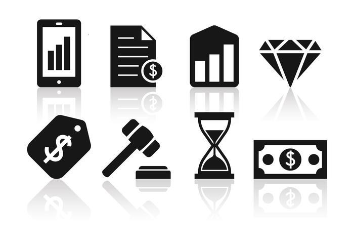 Gratis Minimalistische Bedrijfs- en Financiële Icon Set vector
