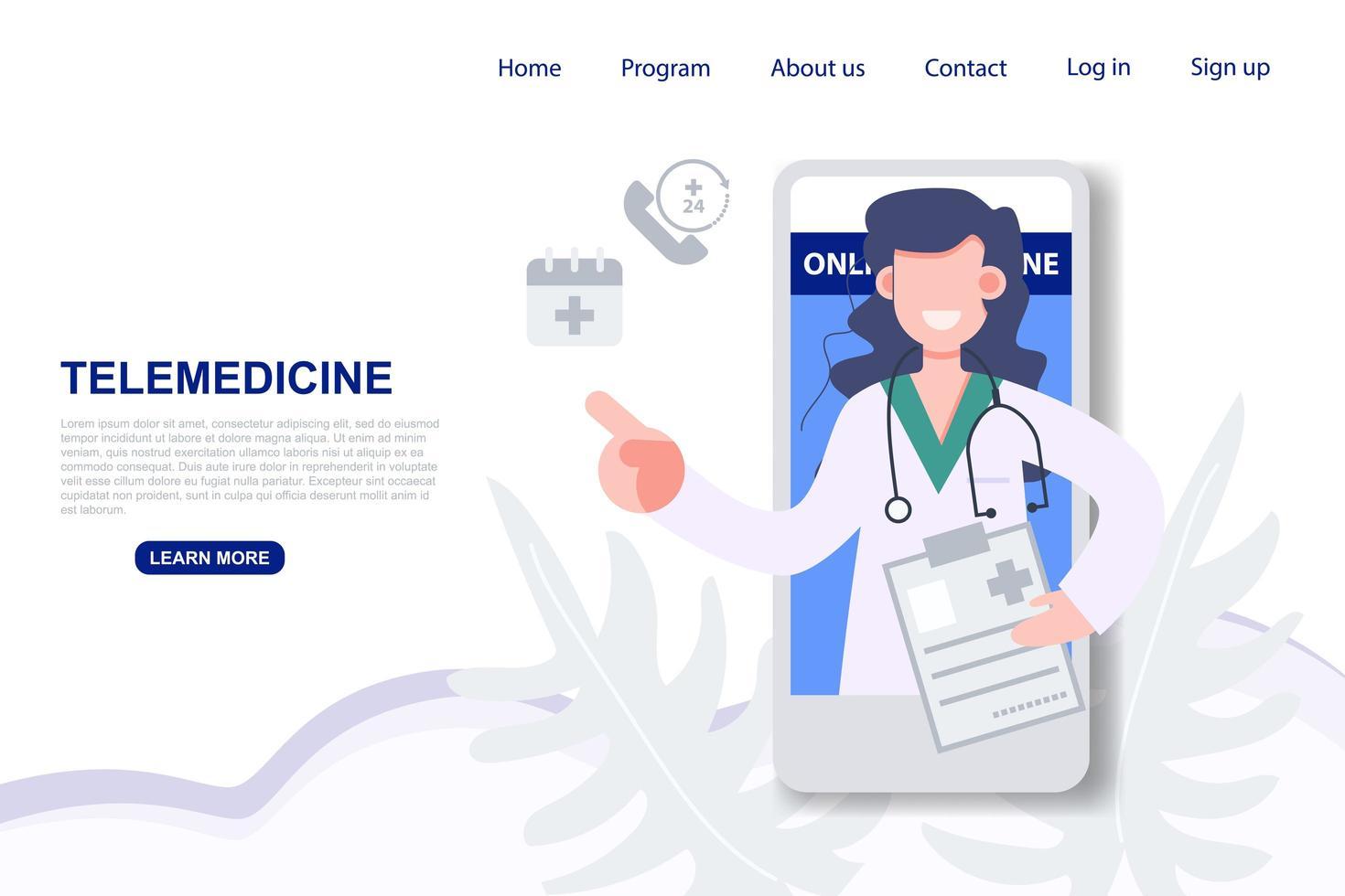vrouwelijke arts raadpleging over de bestemmingspagina van de mobiele telefoon vector