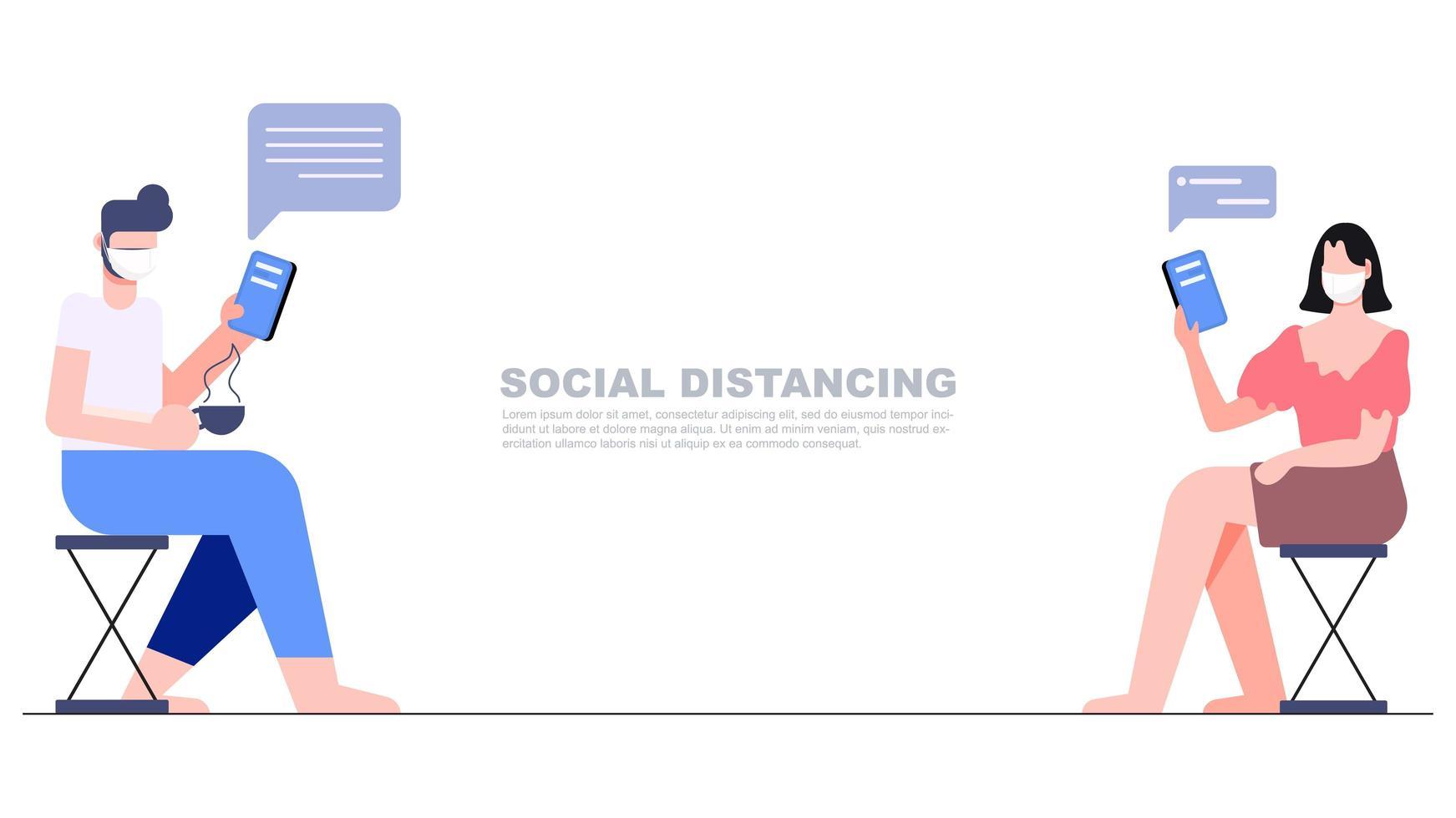 twee mensen die afstand houden en elkaar sms'en vector