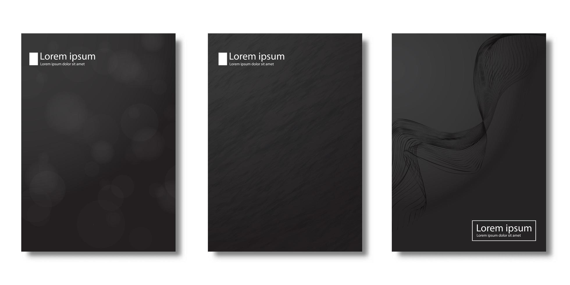 moderne covers met bokeh en grunge penseel texturen vector