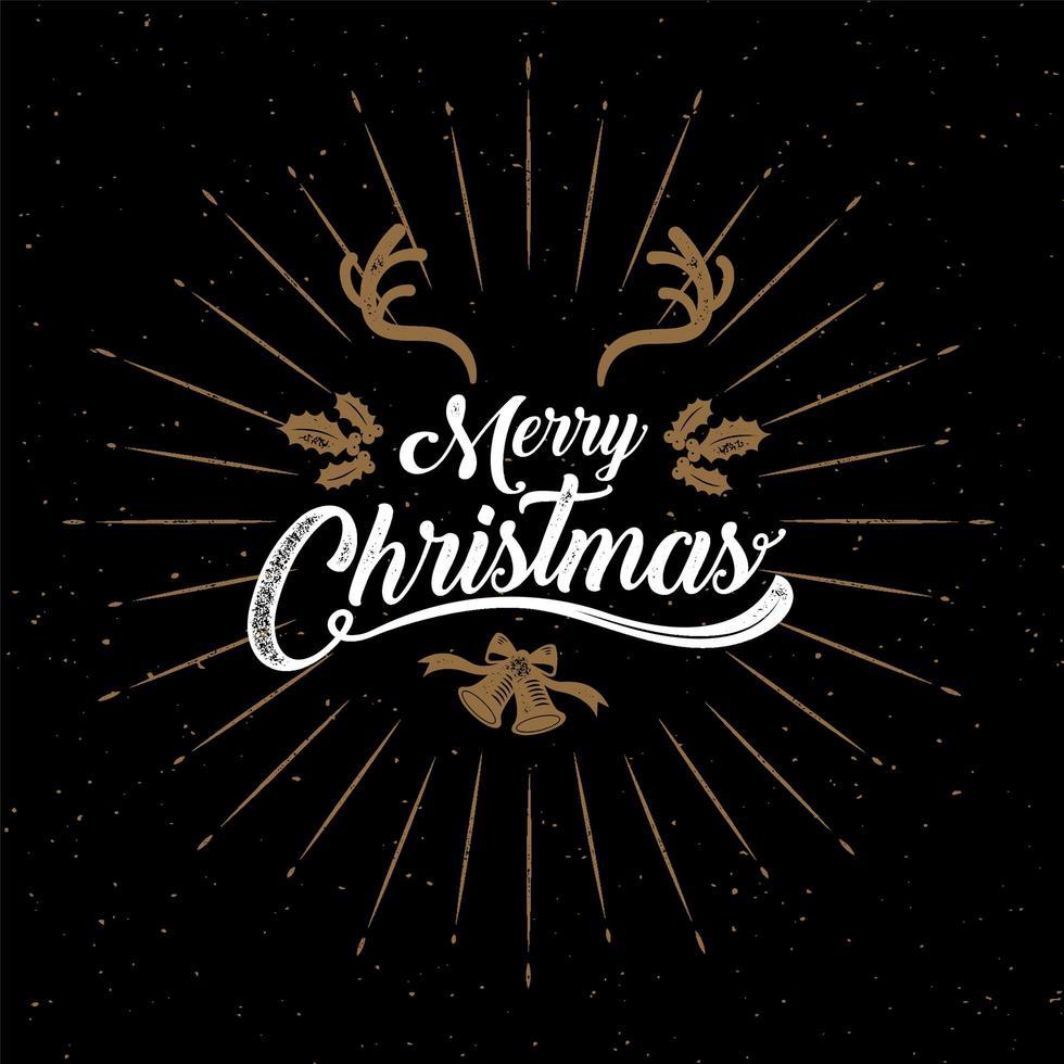 goud en wit noodlijdende vrolijke kerst kalligrafie poster vector