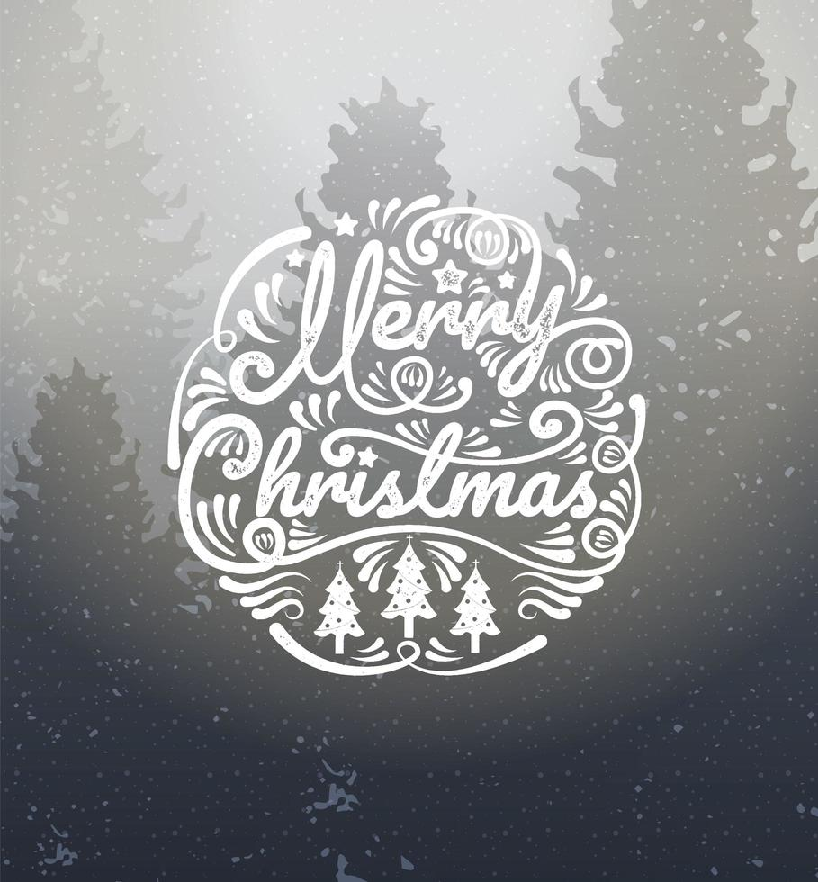 vrolijk kerstfeest kalligrafie op winterlandschap vector