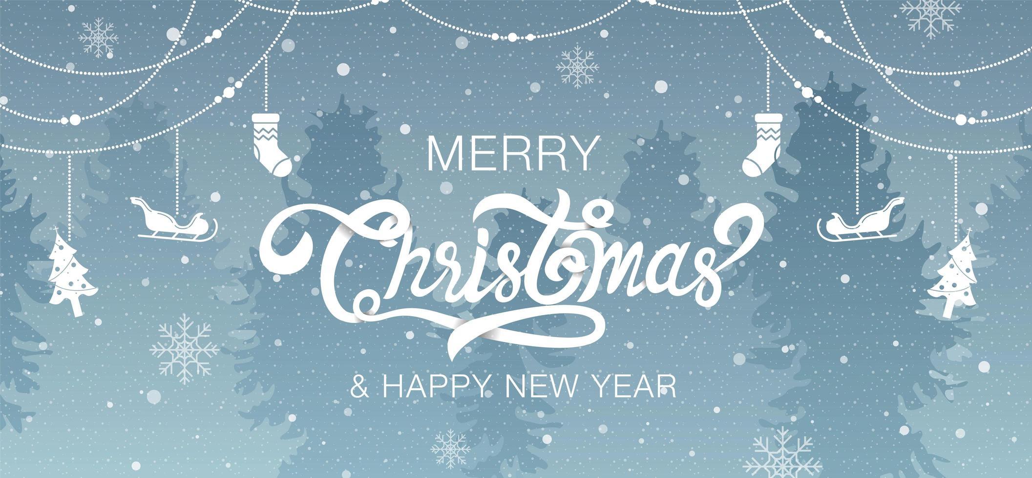 bos scène vrolijk kerstfeest kalligrafie en decoraties vector