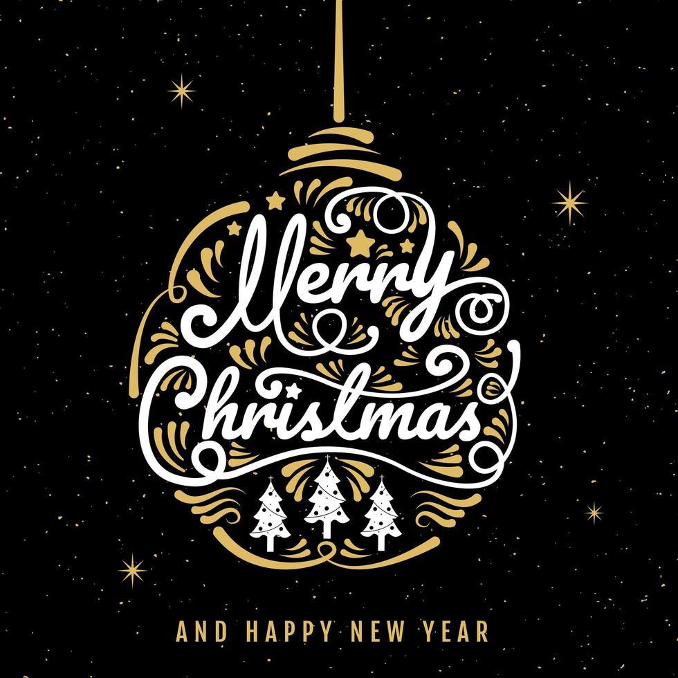 vrolijk kerst ornament kalligrafie en sterren poster vector