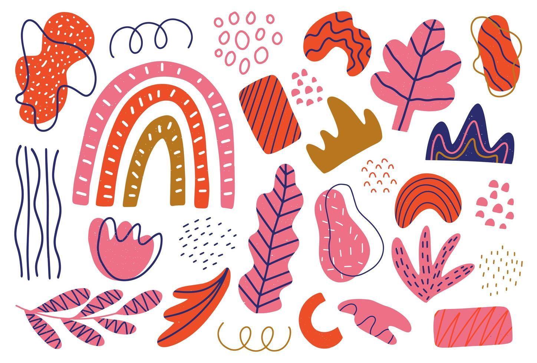 geïsoleerde doodles, bundel bloemen, wervelingen en stippenbladeren vector
