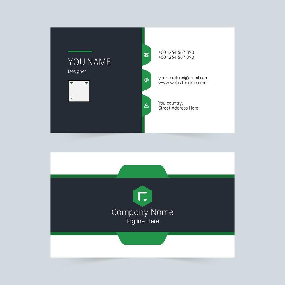 groen en wit schoon visitekaartjesjabloon vector