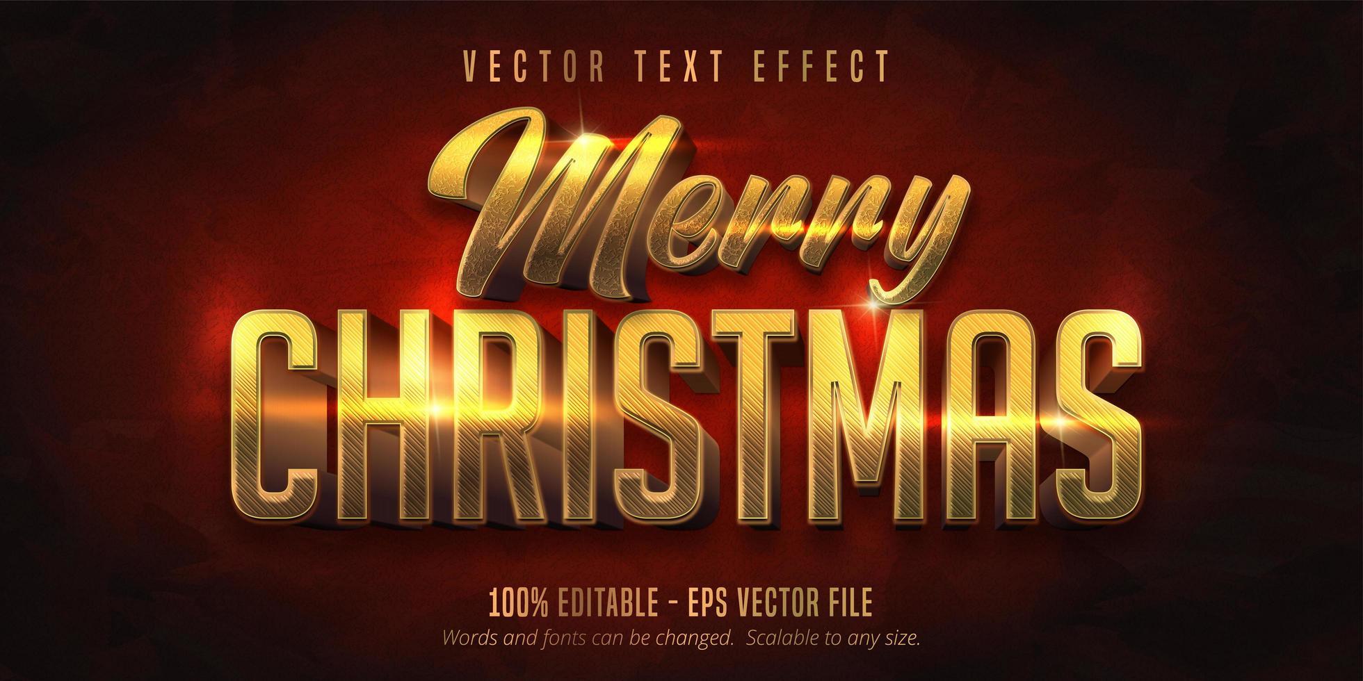 vrolijk kerstfeest glanzend goud bewerkbaar teksteffect vector