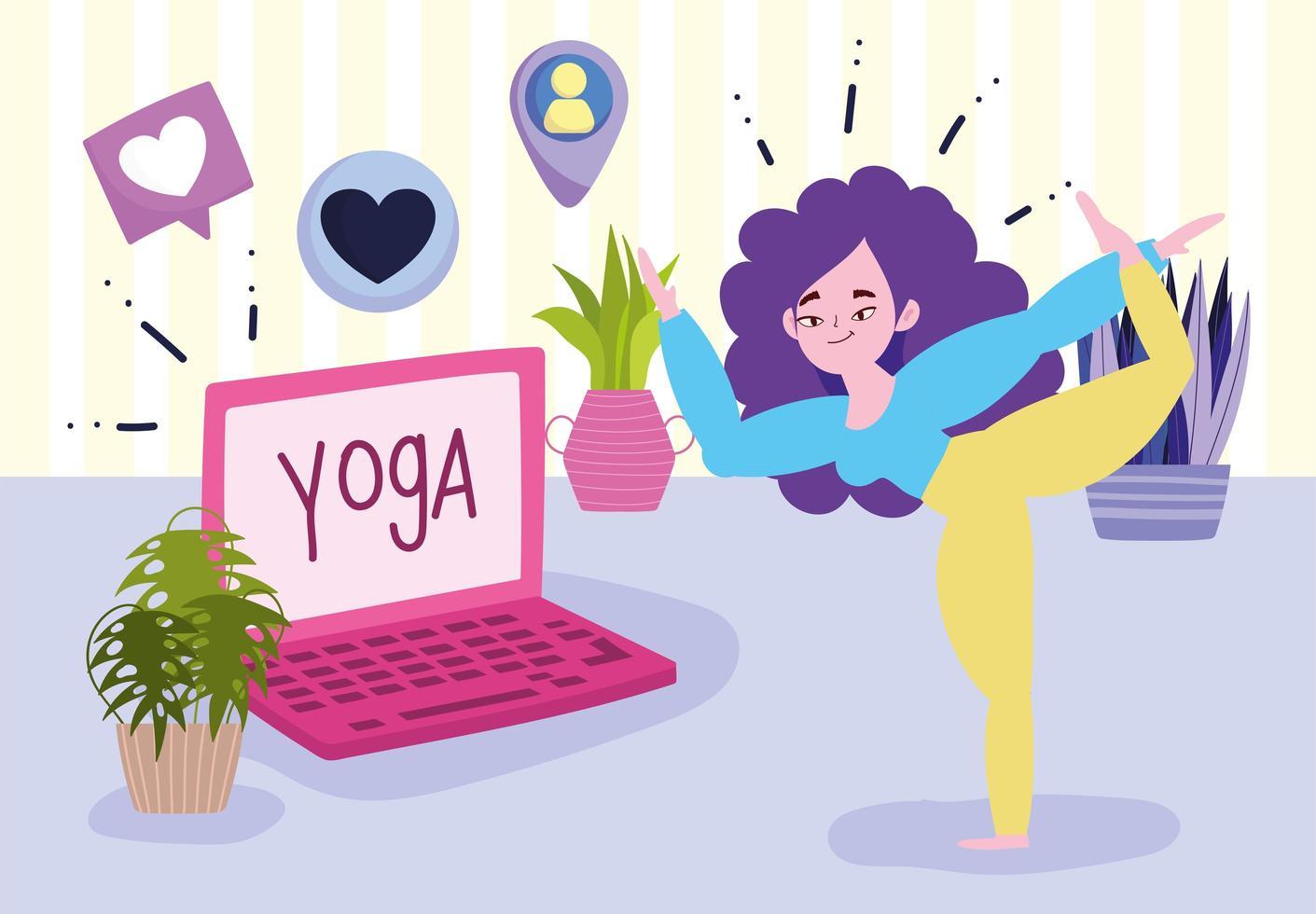 jonge vrouw in yoga pose laptop in de kamer vector