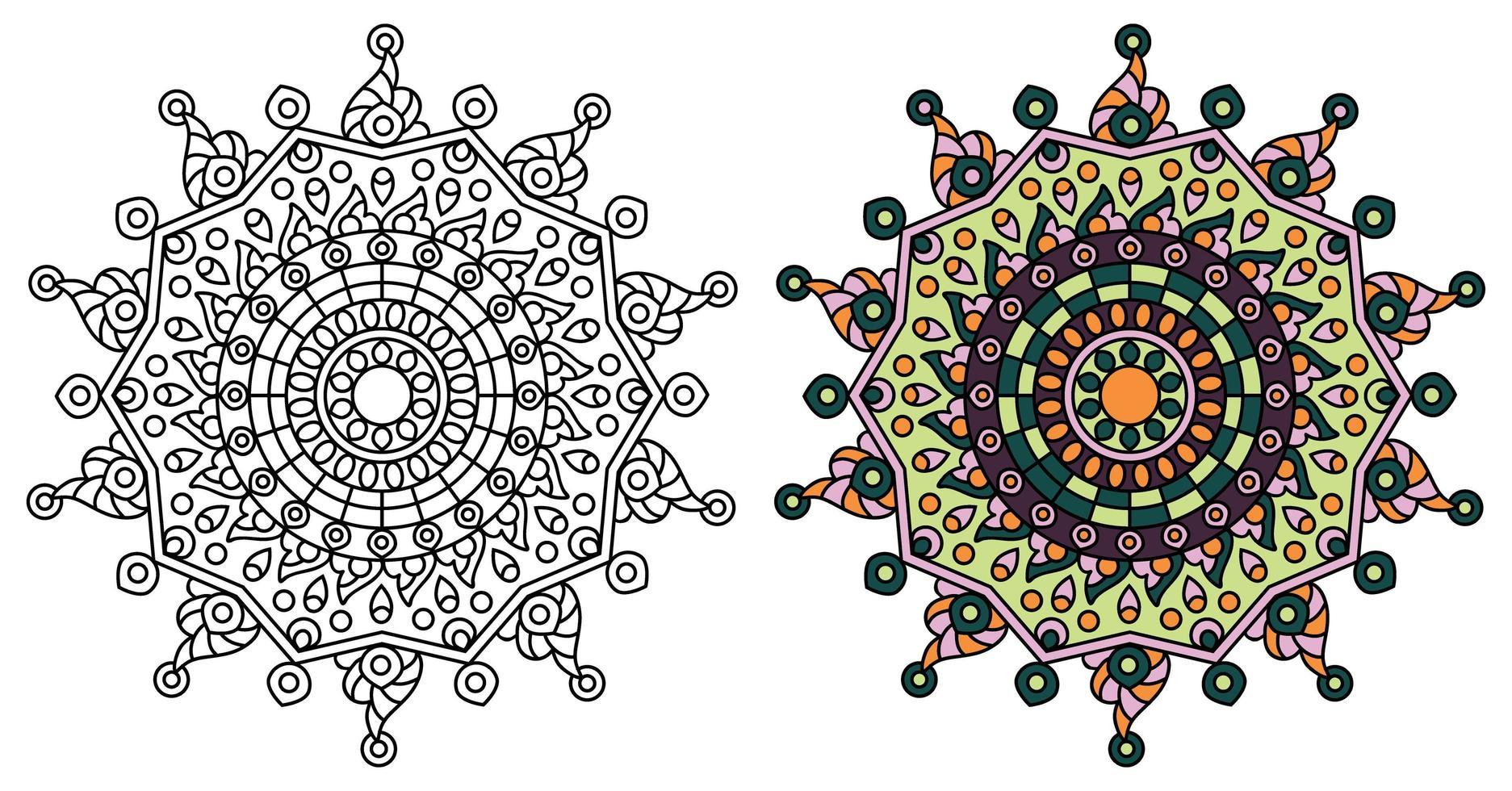 afgeronde ster mandala kleurplaat ontwerpsjabloon vector