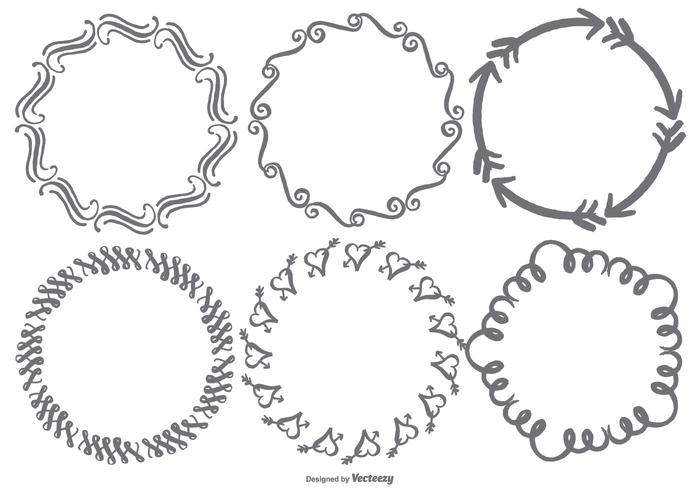 Handgetekende Krabbelframes vector