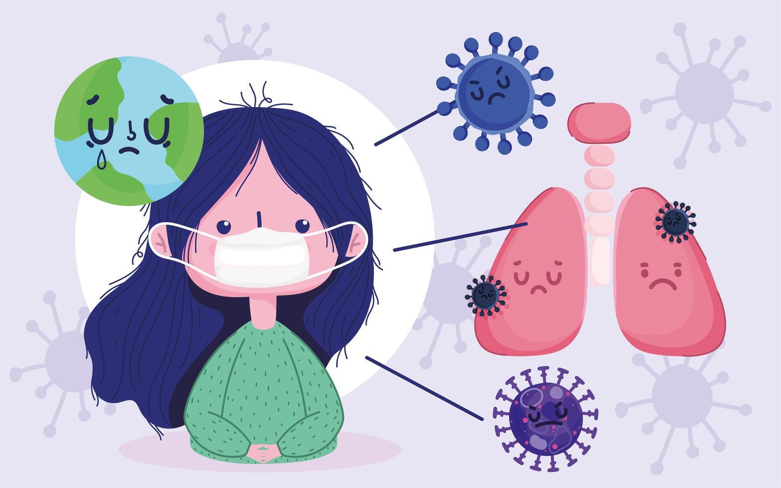 covid 19 pandemisch ontwerp met meisje met beschermend masker vector