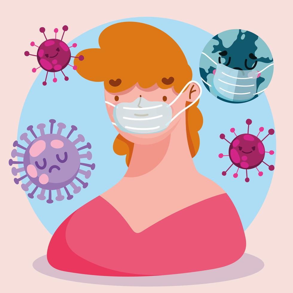 covid 19 pandemische cartoon met persoon die een beschermend masker draagt vector