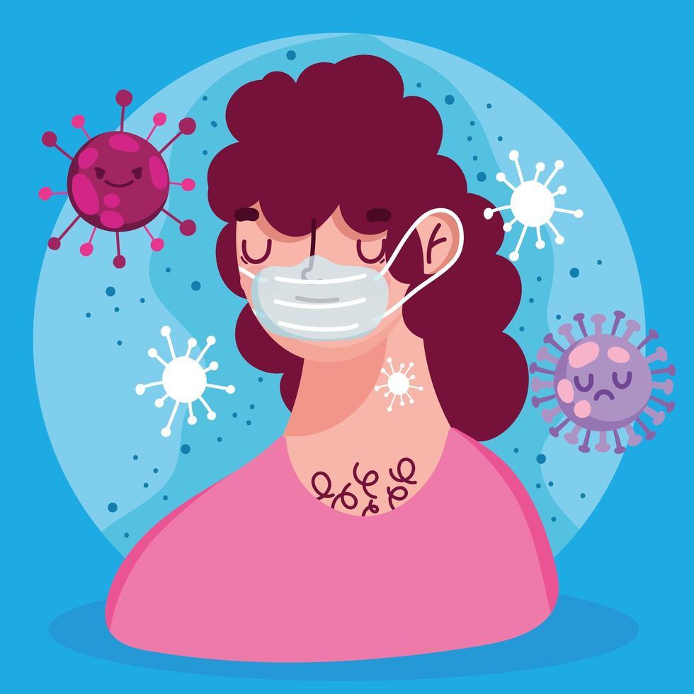 covid 19 virus pandemische man met gezichtsmasker vector
