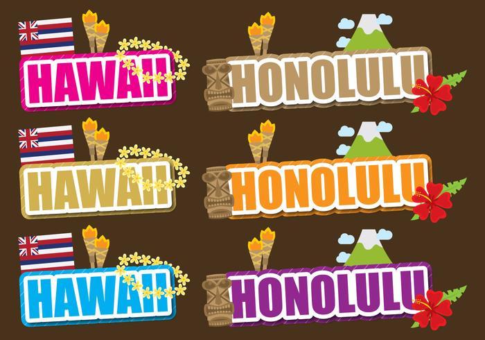 Hawaii en Honolulu Titels vector