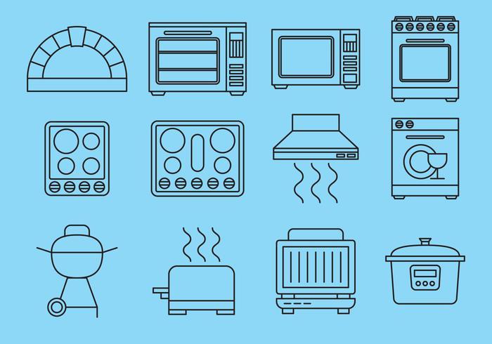 Line keuken items iconen vector