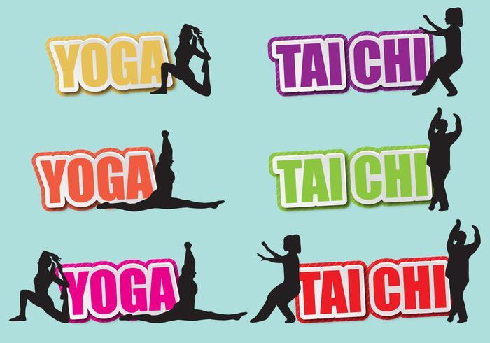 Tai Chi en Yoga Titels vector