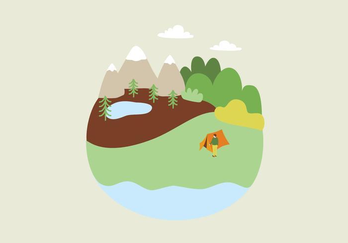 Camping Landschap Illustratie vector