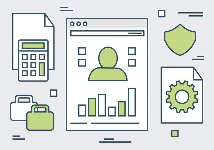 Groene Lineaire Website Elementen Vector Achtergrond