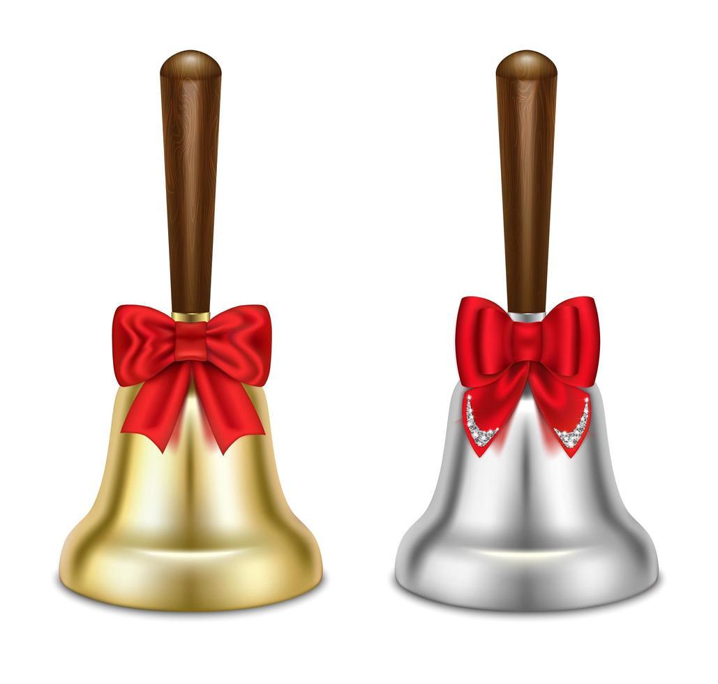 gouden en zilveren bellen met rode strikken vector
