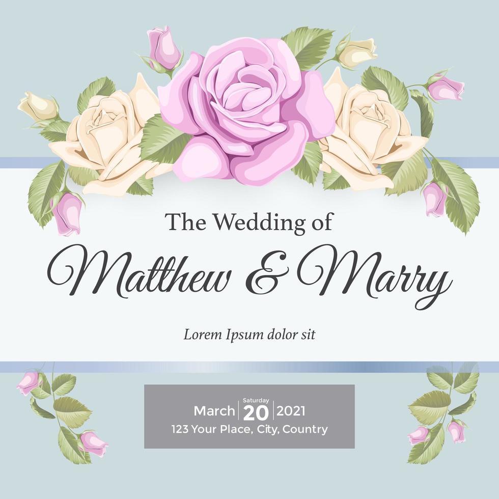 elegante roos bruiloft uitnodiging element vector