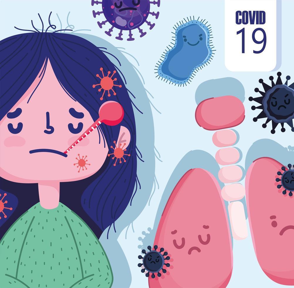 covid 19 pandemisch ontwerp met ziek cartoonmeisje vector