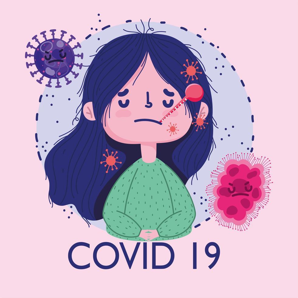 covid 19 pandemisch ontwerp met ziek meisje met thermometer in mond vector