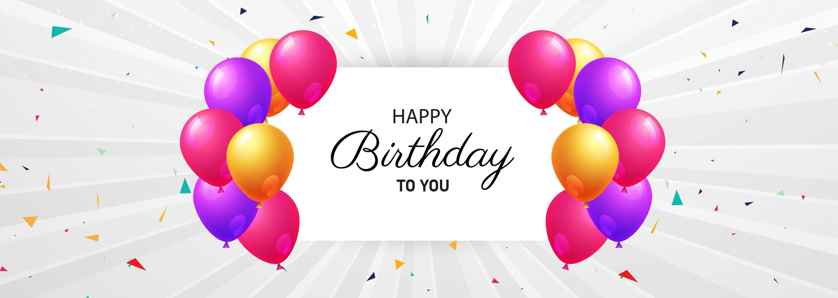 gelukkige verjaardag viering kaart met ballonnen vector