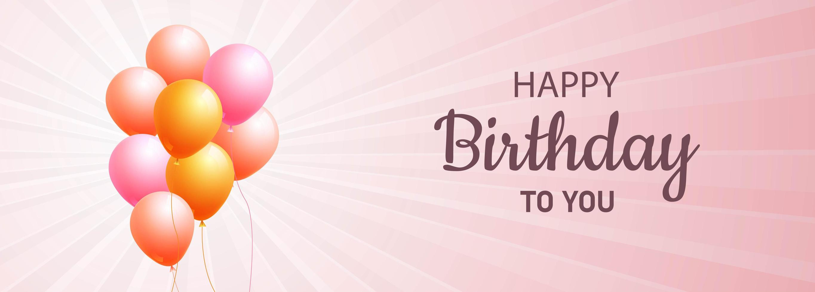 roze en oranje ballonnen gelukkige verjaardag banner vector