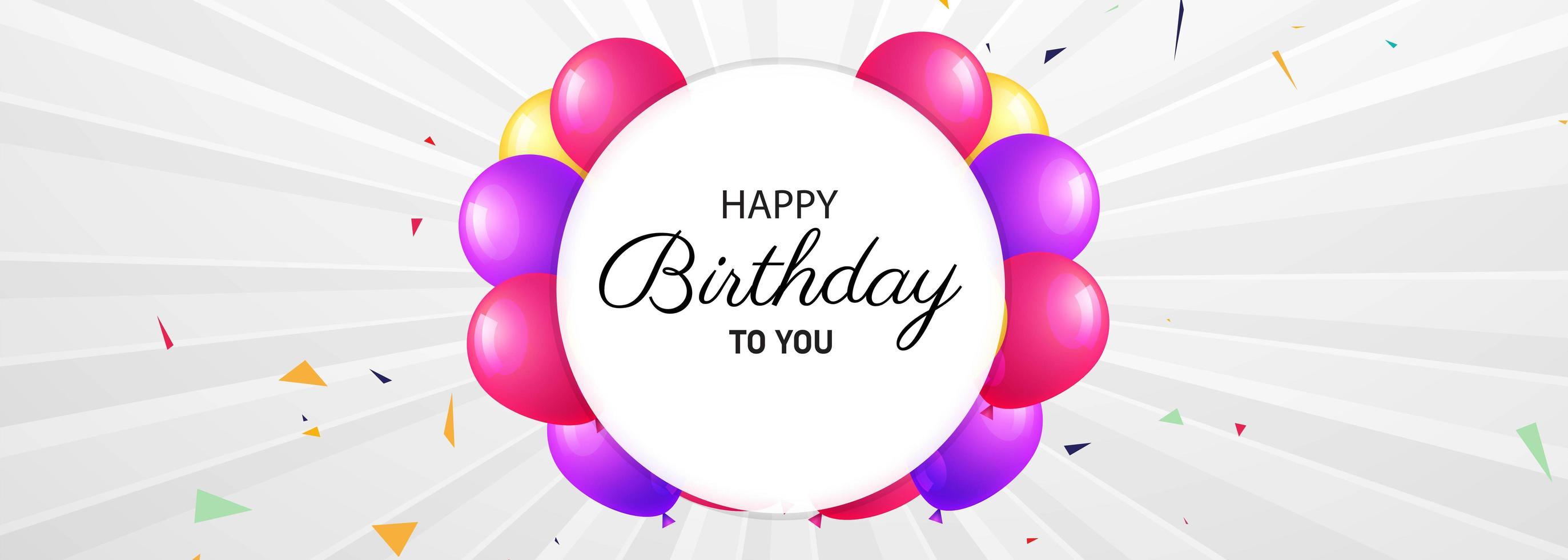 gelukkige verjaardagskaart met circulaire ballon frame vector