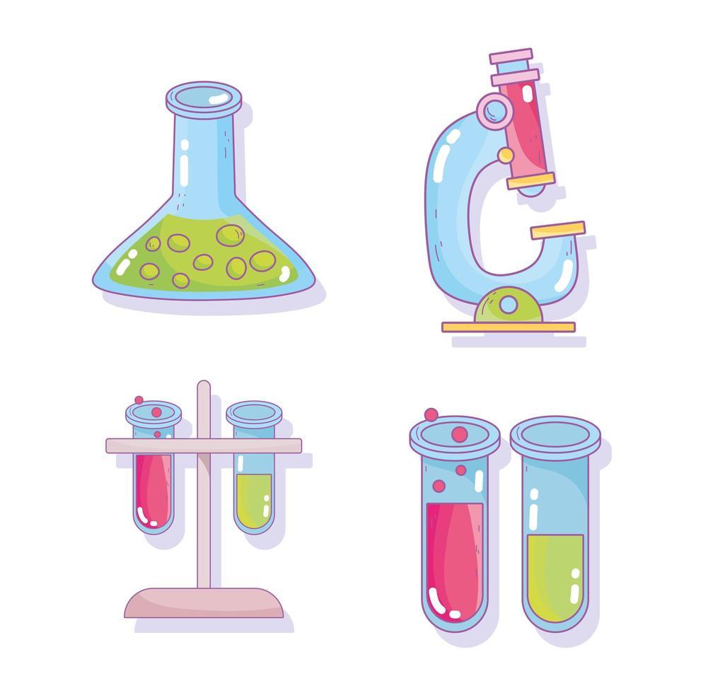 onderzoek laboratorium pictogrammen vector