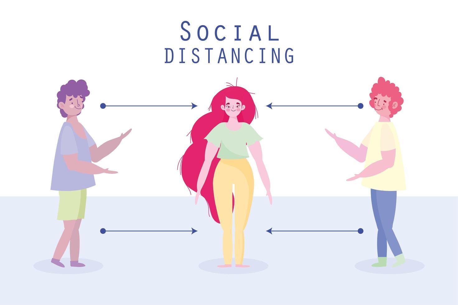 mensen die apart staan om sociale afstand te beoefenen vector