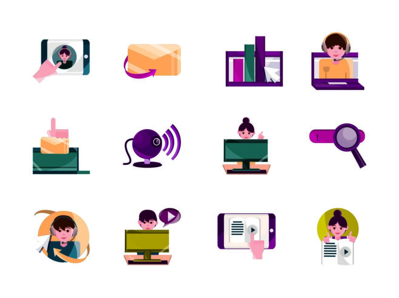 cnline-activiteiten, digitale verbindingspictogramreeks vector