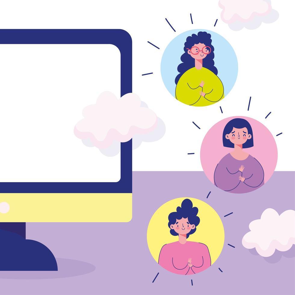online ontmoeting met avatrs van communityleden vector