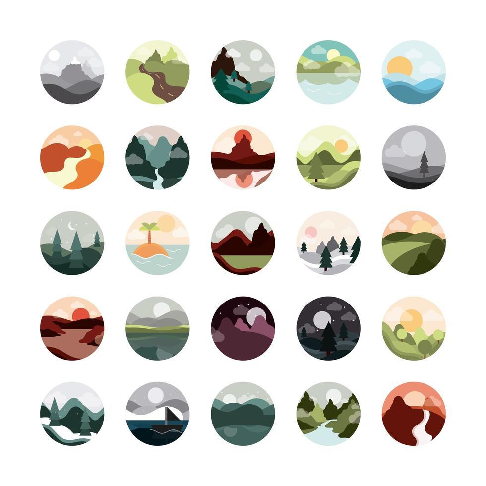 landschap circulaire pictogramserie vector