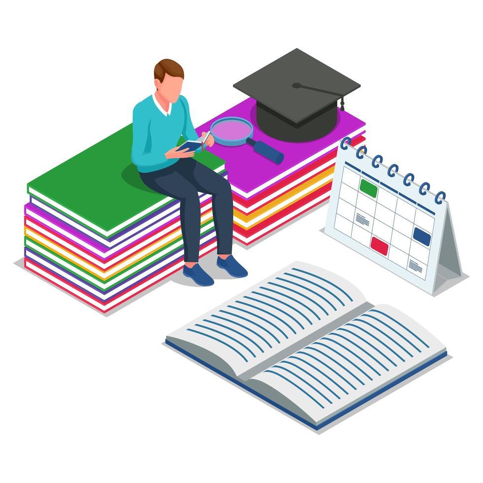 student zitten en lezen van boeken vector